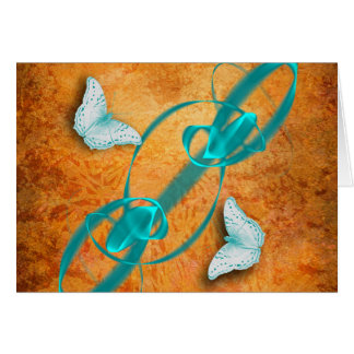 blue butterflies & fractal horizontal card