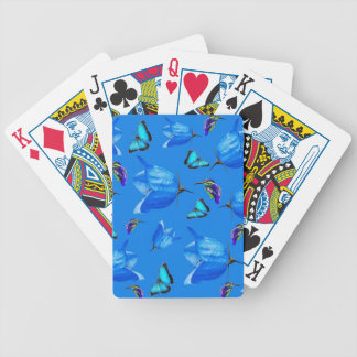 Blue Butterflies, Kingfishers, And Bell Flowers, Bicycle Playing Cards