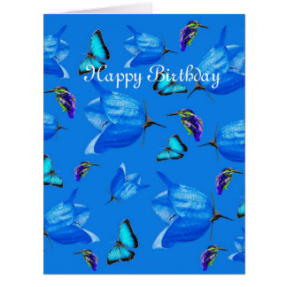 Blue Butterflies, Kingfishers, And Bell Flowers, Card