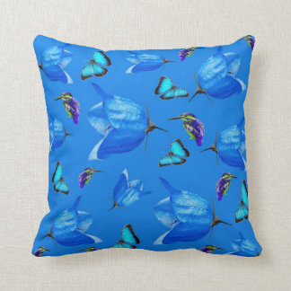 Blue Butterflies, Kingfishers, And Bell Flowers, Cushion