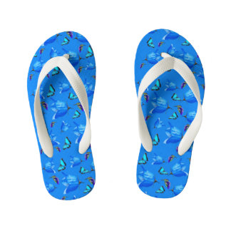Blue Butterflies, Kingfishers, And Bell Flowers, Kid's Thongs