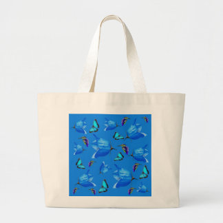 Blue Butterflies Kingfishers And Bell Flowers, Large Tote Bag