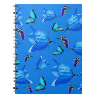 Blue Butterflies Kingfishers And Bell Flowers, Notebook
