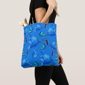 Blue Butterflies, Kingfishers, And Bell Flowers, Tote Bag