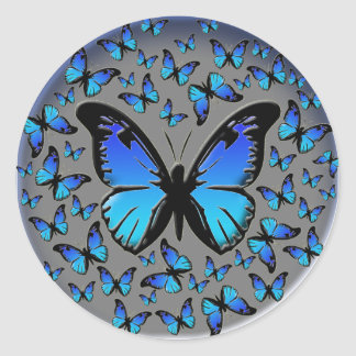 blue butterflies on a silver background round sticker