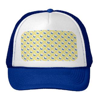 Blue Butterflies on Yellow Background Pattern Mesh Hats