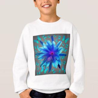 Blue Butterflies Tropical Flower Gifts Sweatshirt