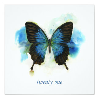 "Blue Butterfly 21st Birthday Invitation 5.25"" Square Invitation Card"