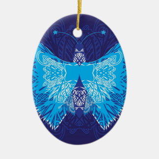 Blue Butterfly Abstract Ceramic Oval Decoration