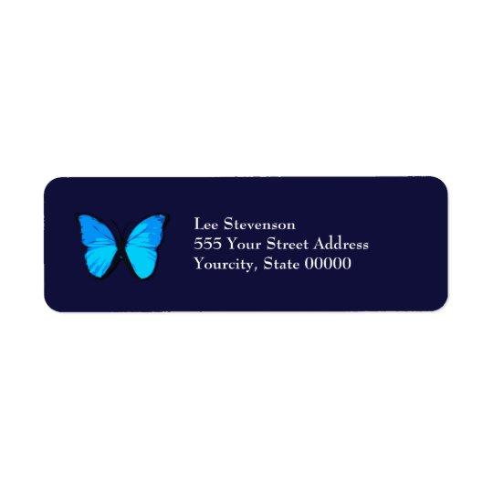 Blue Butterfly Address Label