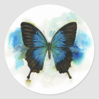Blue Butterfly Any Occasion Stationery Round Sticker
