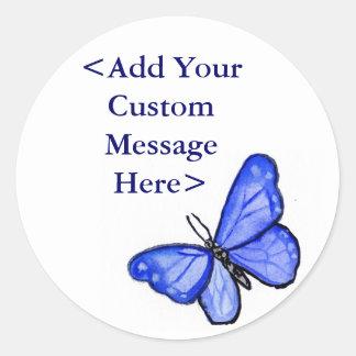 Blue Butterfly Art Label Stickers