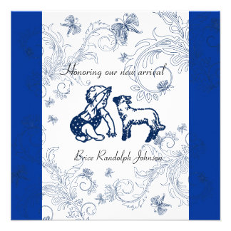Blue Butterfly Baby Shower invitation