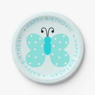 Blue Butterfly Birthday Party Paper Plate