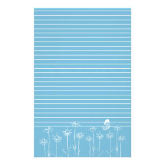 Blue Butterfly Chamomile Flowers White Lined Personalized Stationery