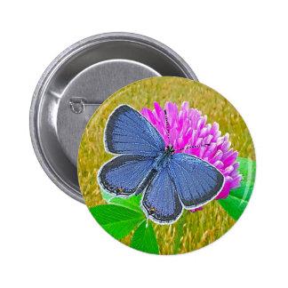 Blue Butterfly Clover Button