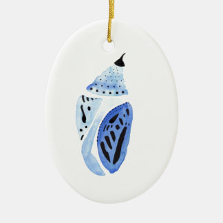 Blue Butterfly Cocoon Ceramic Ornament