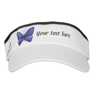 Blue Butterfly Custom Knit Visor, White Visor