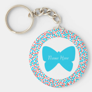 Blue Butterfly Dots Keychain - Template