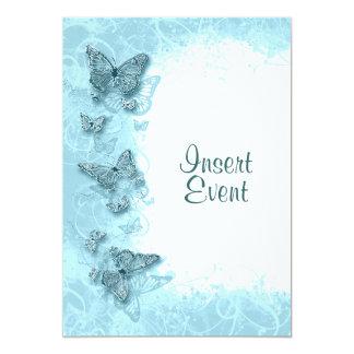 "Blue butterfly elegant birthday wedding 5"" x 7"" invitation card"