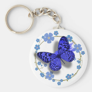 Blue Butterfly & Flowers Pretty Key/bag Chain Basic Round Button Key Ring