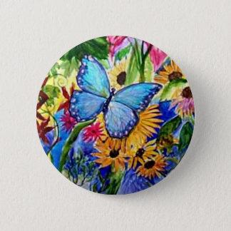 Blue Butterfly Garden 6 Cm Round Badge
