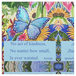 Blue Butterfly Garden - Kindness quote Fabric