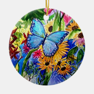 Blue Butterfly Garden watercolor Ceramic Ornament