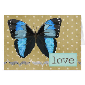 Blue  Butterfly Gold Love Card