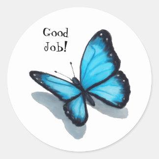 Blue Butterfly, Good Job, Teacher, Schooll Classic Round Sticker