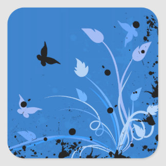 Blue Butterfly Grunge Square Sticker