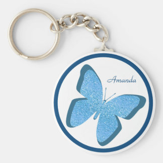 Blue Butterfly Jewel Personalized Basic Round Button Key Ring