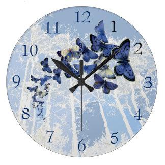 Blue Butterfly kaleidoscope flight Large Clock