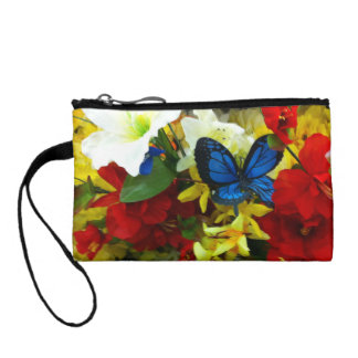 blue butterfly key coin clutch coin wallets