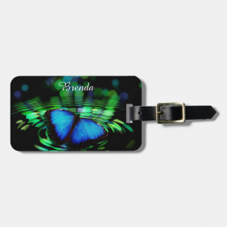 Blue Butterfly Luggage Tag with Leather Strap