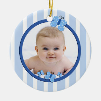 Blue Butterfly New Baby Ornament