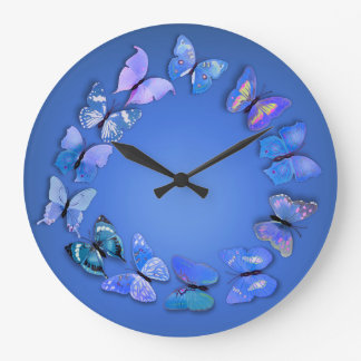 Blue Butterfly Novelty Wall Clock