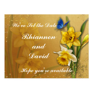 Blue Butterfly on Daffodil  Save the Date Postcard