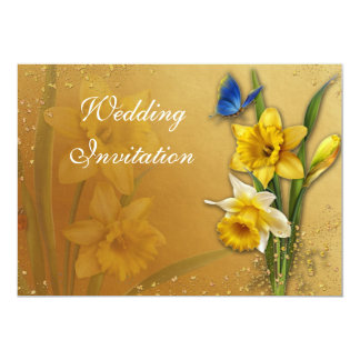 Blue Butterfly on Daffodils Invitation Card