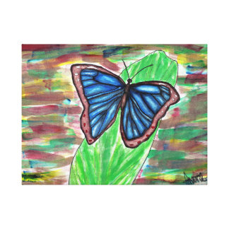 Blue Butterfly on Leaf Canvas Print