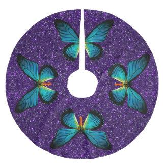 Blue Butterfly On Purple Glitter Tree Skirt