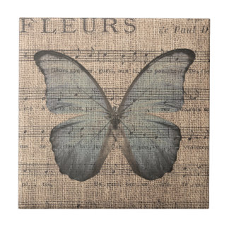 Blue Butterfly on Vintage Sheet Music Ceramic Tile