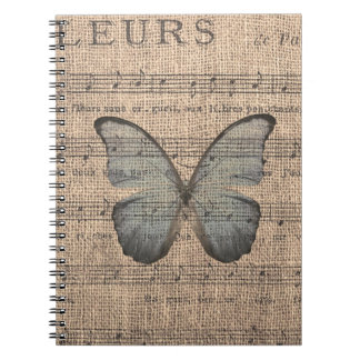 Blue Butterfly on Vintage Sheet Music Spiral Note Book