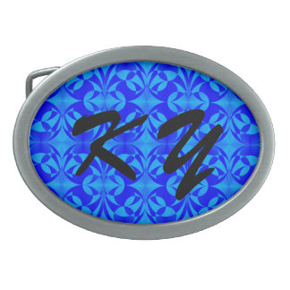 Blue Butterfly Pattern by Kenneth Yoncich Oval Belt Buckle