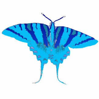 Blue Butterfly Pin Photo Sculpture Badge