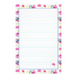 Blue Butterfly Pink Flower Lined Stationery Paper