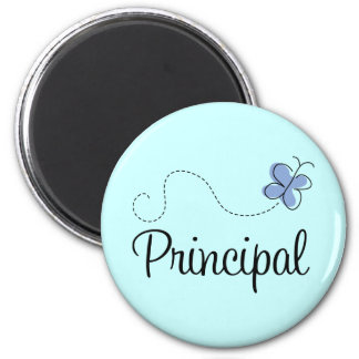 Blue Butterfly Principal Gift 6 Cm Round Magnet