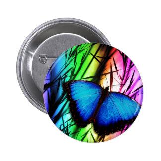 Blue Butterfly Rainbow Buttons