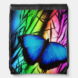 Blue Butterfly Rainbow Drawstring Bag