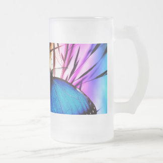 Blue Butterfly Rainbow Frosted Glass Mug